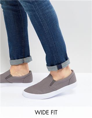 ASOS DESIGN - Instapsneakers met brede pasvorm van grijs canvas