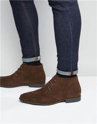 ASOS DESIGN - Imitatiesuède chukka boots in bruin