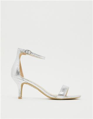 Glamorous - Glamorous - Zilveren sandalen met kitten heels