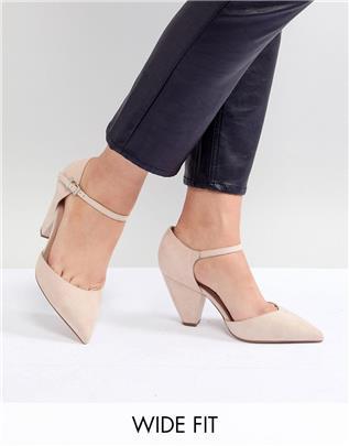 ASOS DESIGN - Speaker - Puntige schoenen met hak en extra brede pasvorm-Beige