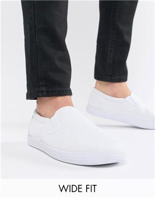 ASOS DESIGN - Slip-on gympen met brede pasvorm van wit canvas