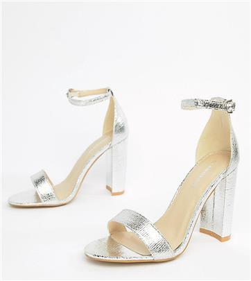 Glamorous - Zilveren minimalistische sandalen met blokhak en brede pasvorm