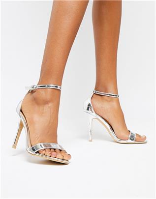 Glamorous - Zilveren minimalistische sandalen met hak