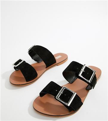 ASOS DESIGN - Victorious - Leren slippers met gesp en met brede pasvorm-Zwart