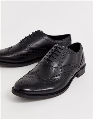 ASOS DESIGN - Leren brogue schoenen in zwart